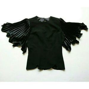Vintage Samuel Scott Black Flutter Sleeve Blouse